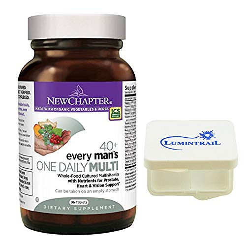 New Chapter Every Man's One Daily 40+ Multivitamin with Nutrients for Prostate, Heart, and Vision - 96 ct Tablets Bundle with a Lumintrail Pill Case