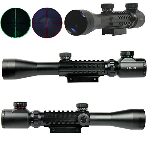 Lukher 3-9x40 Tactical Rifle Scope Red & Green illuminated Mil Dot 20mm Picatinny