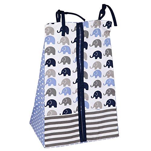 Elephants-BlueGrey-10-pc-Crib-Set-Bumperfree