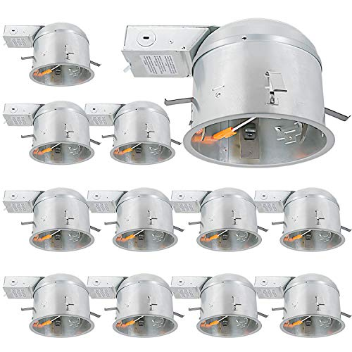 12 Pack 6 Inch Remodel Housing, Shallow Type Airtight IC Can Housing with TP24 Connector for LED Recessed Lighting, ETL…