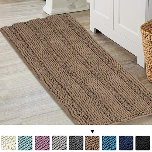 Turquoize Chenille Bathroom Rugs Shag Area Rug Shower Mats for Bath Room Runner Rug Non Slip Backing Water Absorbent Bath Room Mat for Kitchen/Tub/Living Room, 47