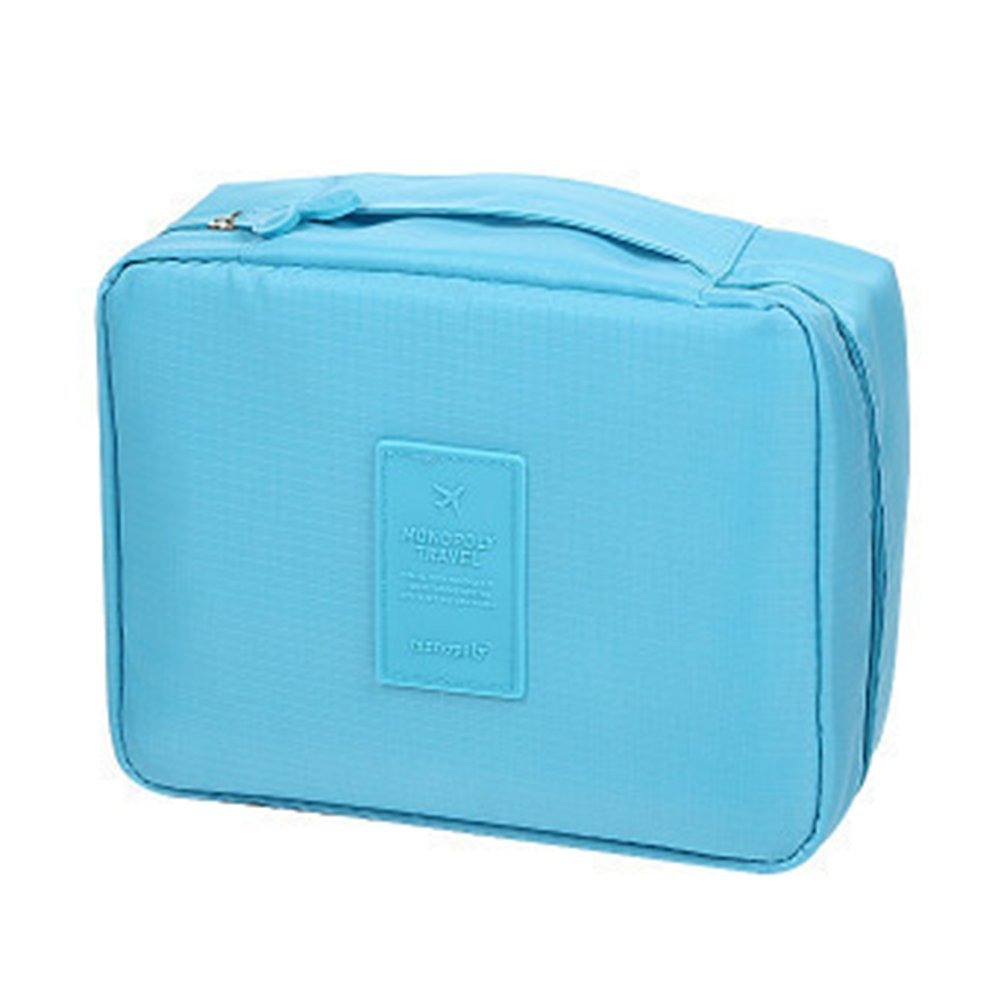 Leisial portatile di trucco borsa da toilette da donna impermeabile per trucchi, organizer per il bagno Storage multi funzione di grandi dimensioni, Panno, Blue, taglia unica QNV173135GAZ7D103