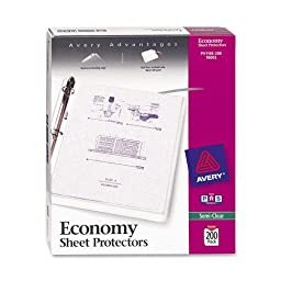 Avery Economy Semi-Clear Sheet Protectors, Acid Free, Clear, Box of 200 (76002)