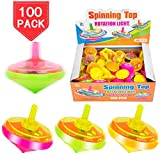PROLOSO 100 Pcs Light Up Spinning Tops LED Flashing Spinners with Gyroscope