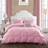 Rose Nature Goose Down and Feather Bed Comforter Quilt,100% Orangic Cotton Shell, 620+ Filling Power Warmth,Twin Size,Pink Color
