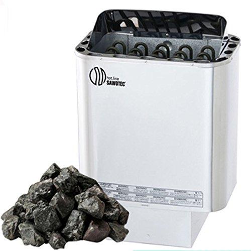 Saunaofen Nordex 9 kW mit Olivin Diabas Saunasteine, Außenmantel Edelstahl, ohne Steuerung