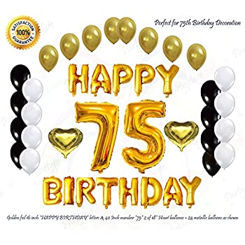 Golden Happy 75th Birthday Decorations Letter Balloon Set Helium Large 40Inch 75 Number
