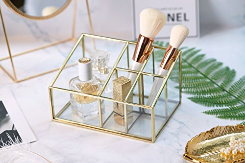 PuTwo Bathroom Storage 5 Sections Metal Glass Makeup Organizer Bathroom Decor Bathroom - Vanity Glasses
