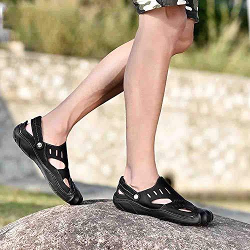 In Per Uomo Baotou Scarpone 42 Black Per Pelle Comfort Ortopedico Scarpa Sandali Sconosciuto Spiaggia Comodo Da La CfwXF