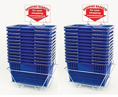 Blue Shopping Baskets (Set of 24 with 2 stands and Sign) Durable Blue Plastic with Metal Handles by Only Garment Racks