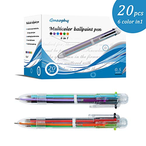Multicolor Pens - 20 Pcs of 6 in 1 Retractable Ballpoint Pens, 6 Vivid Colors in Every Pen, Smooth Writing, Perfect for Office/School/Home, Great Gift for Students/Children/Kid/Friends/Office Supplies