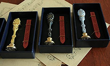 DinoPure Antique Sealing Wax Sticks with Wick for Retro Vintage Wax Seal Stamp Gift Set (2# set - bronze mental hand shank - one alphabet from A-Z)