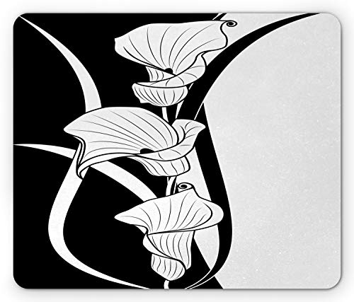 Ambesonne Art Nouveau Mouse Pad, Crevalle Blossom Background in Contrasting Tones Illustration, Standard Size Rectangle Non-Slip Rubber Mousepad, Black and White