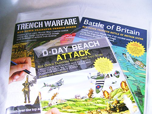 New 3 World War 1& 2 Theme Rub Down Transfer Activity Packs DDAY BRITAIN TRENCH For Ages (Faucet Rub)