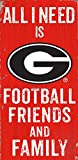NCAA Georgia Bulldogs 6'' x 12'' All I Need is Football, Friends, and Family Wood Sign