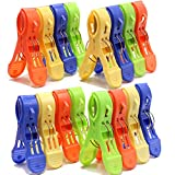 Set of 16 - Large Size Sturdy Plastc Clothes Bath Towel Clip Holder - Quilt Hanging Clips Clamp Holder for Beach Chairs or Lounge Chair-Keep Your Belongings from Blowing Away(Multi Colors)