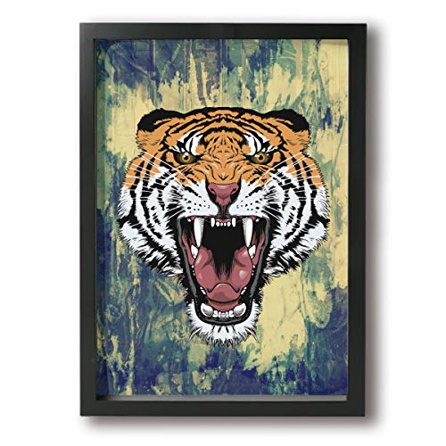SRuhqu Canvas Wall Art Prints Roaring Tiger Face -Picture Paintings Contemporary Decorative Giclee Artwork Wall Decor-Wood Frame Ready to Hang ()