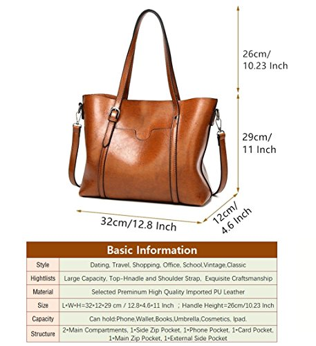Designer Cross Capacity KAMIERFA Travel Ladies for Work Girls Brown Classic Bags Tote for Handbags Body Tote PU Italian for Satchels Women Shoulder Leather Bags Large PR6Iz6