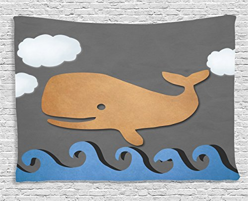 - Ambesonne Whale Decor Tapestry, Wooden Paper like Designed Whale on Air with Paper Based Whale Image, Wall Hanging for Bedroom Living Room Dorm, 60 W X 40 L Inches, Grey Blue and Brown