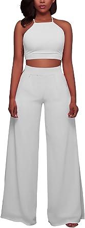 Mujer Crop Top Y Pantalon Verano Elegantes Espalda Descubierta Sin Mangas Blusas Cintura Alta Pantalones Anchos 2 Piezas Classic Chic Fiesta Coctel Conjuntos Amazon Es Ropa Y Accesorios