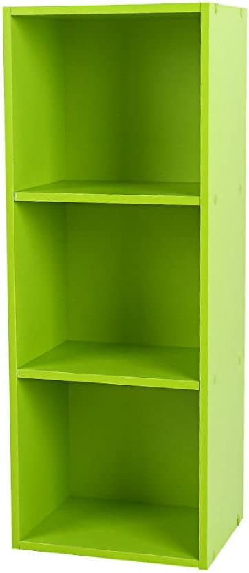 3 Layers-Green 3/4 Shelf Bookcase Storage Bookshelf Wood Furniture Adjustable Book Shelving