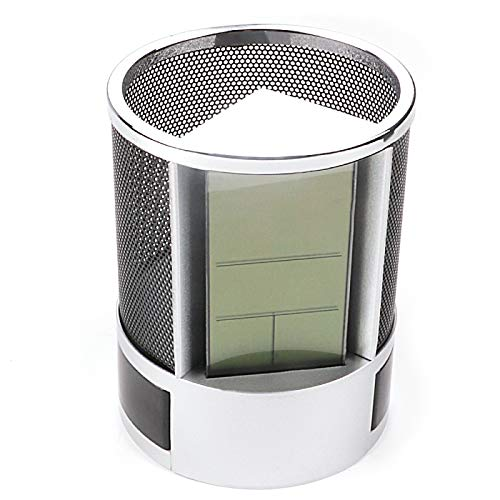Pen Holder, Desktop Alarm Clock Grid Pen Pencil Stand Calendar Timer Temperature Black
