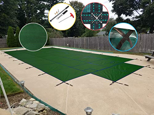 Water Warden SCMG1632CS Safety Pool Cover for 16' x 32' In Ground Pool, Green Mesh with Center Step ()