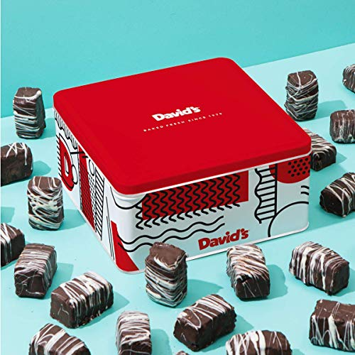 David'S Cookies Chocolate Covered Brownie Bites In Signature Tin - Delicious Mini Brownies with Rich Dark Chocolate Glaze - Yummy Brownie Morsels Make Gourmet Desserts Gift for Special Occasions