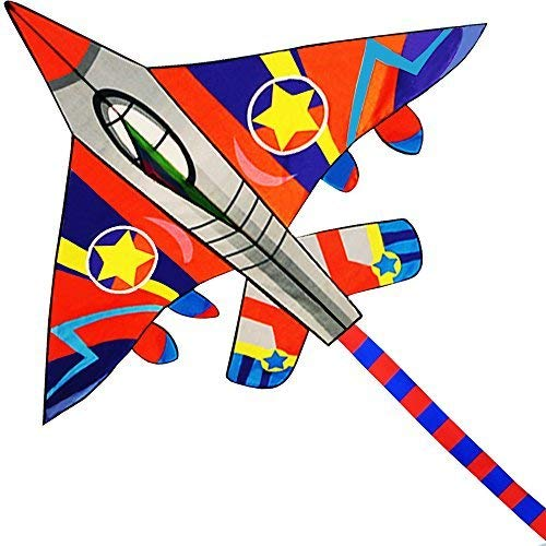 HUGE Fighter Plane Kite for Kids and Adults- 58Wide with long tail- Easy Flyer - Kit Line and Swivel Included- Good for Outdoor Games and Summer the beach toys for kids