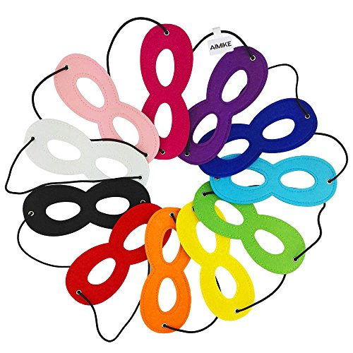 Aimike Party Dress Up Superhero Mask Cosplay Mask with Elastic Ribbon for Kids(Pack of 11 Colors)