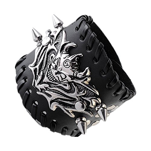 Zysta Gothic Biker Mens Silver Metal Skull Bracelet Black Wide Genuine Leather Wristband Cuff Punk Bangle