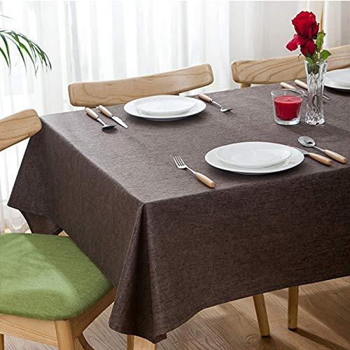 Modern Concise Raincoat Flax Rectangle House Hotel Table Cloth (Color : Coffee)