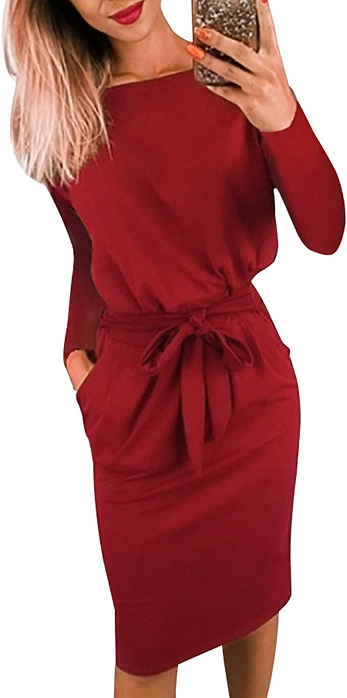 PRETTYGARDEN Women's 2020 Casual Long Sleeve Party Bodycon Sheath Belted Dress with Pockets
