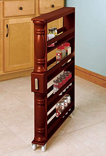Slim Vertical Spice Rack with Wheels in Natural Color