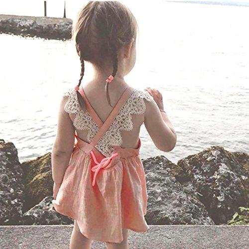 Tefamore Kinder Kids Girls Lace Stickerei Strap Rücken Prinzessin Kleid Kleidung Rosa