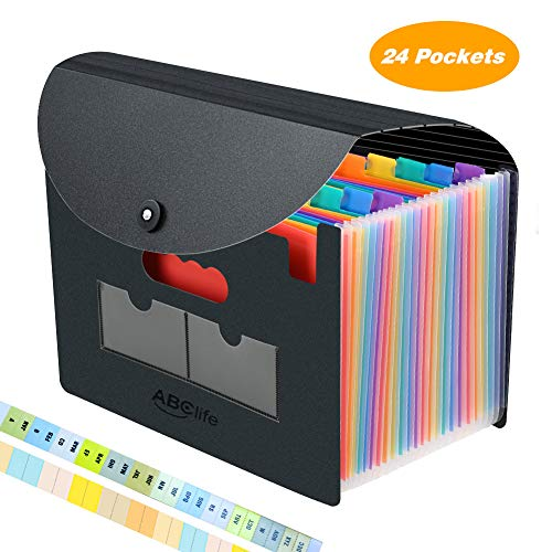 24 Pockets Expanding File Folder with Cover/Accordian File Organizer/Portable A4 Letter Size File Box,High Capacity Plastic Colored Paper Document Organizer Filing Folder Organizer