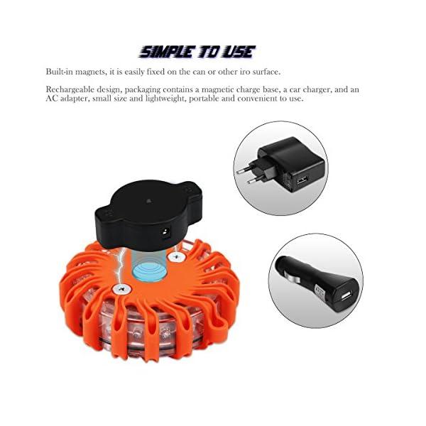Indicadores luminosos de seguridad LED para carretera Luces de seguridad recargables para el automóvil 9 modos Linterna… 6