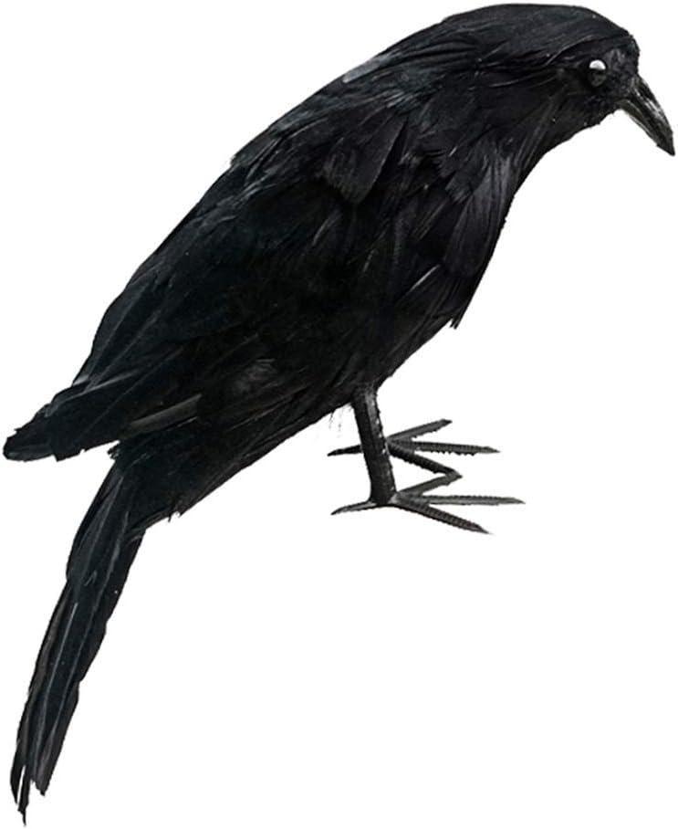 Donpow Accesorio de Cuervo Hecho a Mano Realista de Halloween, pájaros Negros Accesorios de Cuervos Decoración de Halloween Aves