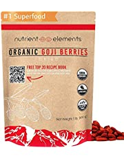 1 lb Premium Organic, Raw & Dried Goji Berries - USDA Certified - Natural Superfood - Extra Large, Non GMO Berries with Resealable Bag by Nutrient Elements - Free Recipes E-Book