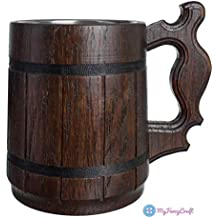 Handmade Beer Mug Natural Wood Stainless Steel Cup Gift Eco-Friendly 0.6L 20oz Classic Brown
