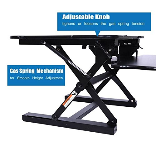 BARBALL Height Adjustable Standing Desk Stand up Desk Computer Sit Stand Converter Riser with Quick Release Keyboard Tray
