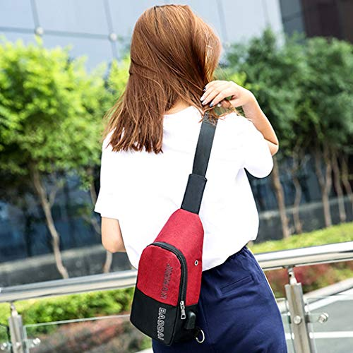 de App Color para 17x8x33cm 69x3 Hombre 6 Negro Carga de Hombro Size Rojo USB 15x12 para Agujero 99 Rojo Auriculares Bolsas Lamdoo con Puerto OtAT0w