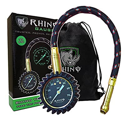 """Rhino USA Heavy Duty Tire Pressure Gauge (0-75 PSI) - Certified ANSI B40.1 Accurate, Large 2"""" Easy Read Glow Dial, Premium Braided Hose, Solid Brass Hardware, Best For Any Car, Truck, Motorcycle, RV from Rhino USA"""