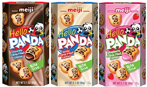 Meiji Hello Panda Biscuits Variety 6 Packs - Strawberry, Vanilla and Choco Creme