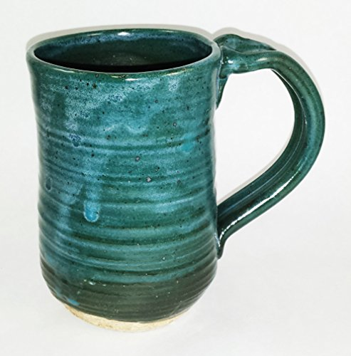 Aunt Chris' Pottery – Limited Edition – Hand Made Clay Drinking Mug/Cup – Blue Green Glazed – Primitive Vintage Style – Large Looped Handle – With a N…