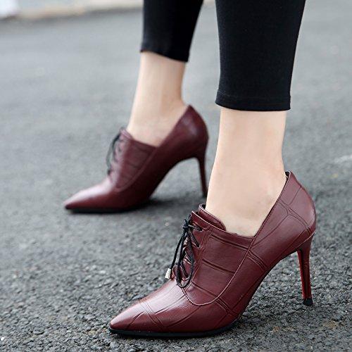Tendencia La ModaTreinta Zapatos Señalado De Gules De Correas Cruzadas NueveDe Y Con Una Europa Profunda KHSKX Multa Señoras Zapatos Y CtawWnxg4q