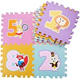TheTickleToe Baby Nursery Kids Floor Mat Play Mat with Puzzle Toy Games Animal Numbers Cut Outs 9 Pcs+12 Pcs Borders