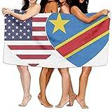FASHT LL Unisex Democratic Republic Of The Congo DRC USA Twin Over-Sized Cotton Bath Beach Travel Towels 31x51 Inch