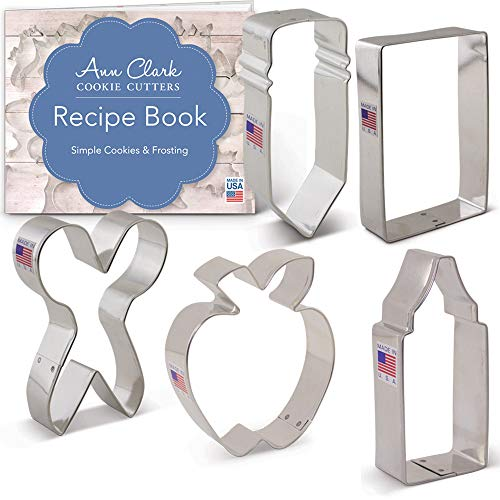 - Back to School/Teacher Appreciation Cookie Cutter Set with Recipe Book - 5 piece - Pencil, Scissors, Apple, Crayon, Rectangle - Ann Clark -US Tin Plated Steel