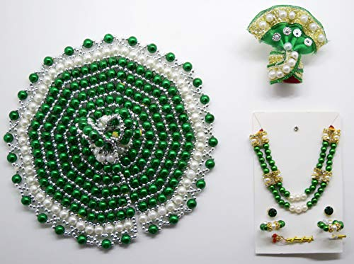 Handmade Green/White Bead Bal Krishna Dress and Ornaments for 2 To 4 Inches Laddu Gopal Idol